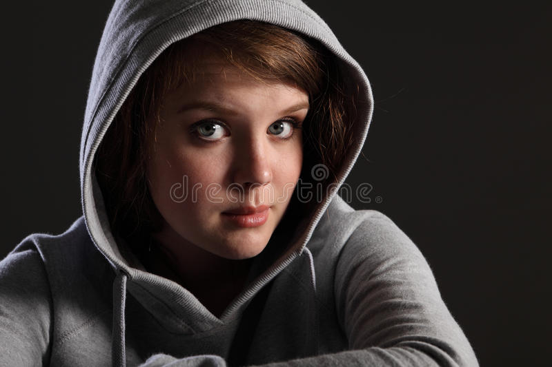 Teenager problems for young sad girl and stressed royalty free stock photos