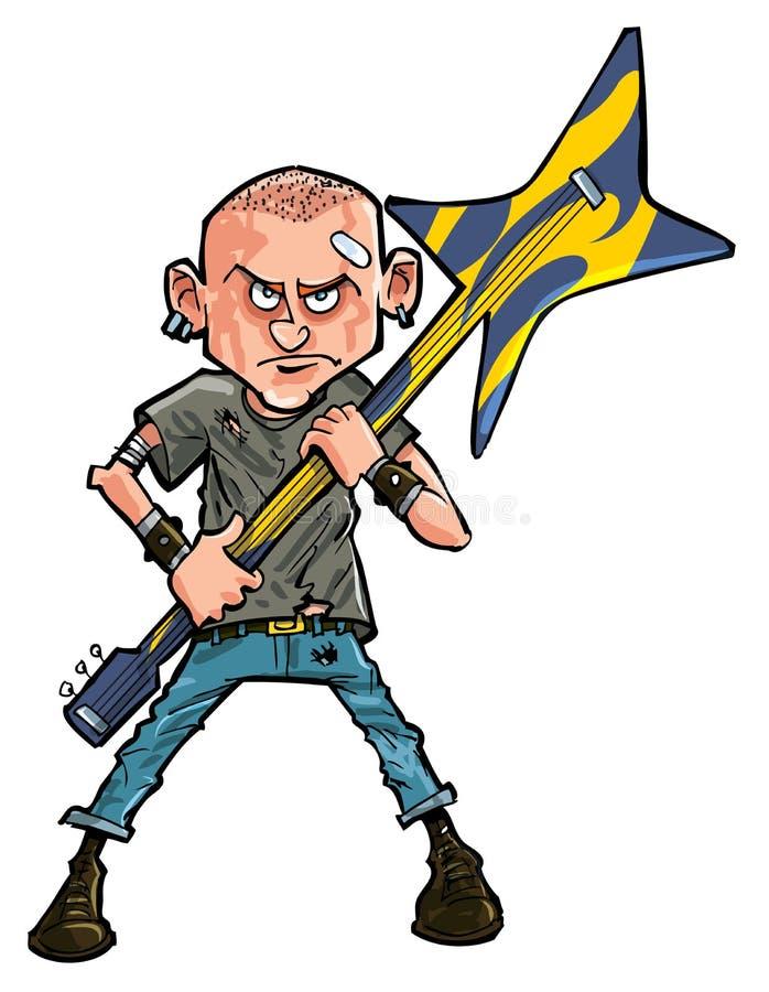Teenager punk del fumetto brandishing la sua chitarra illustrazione di stock