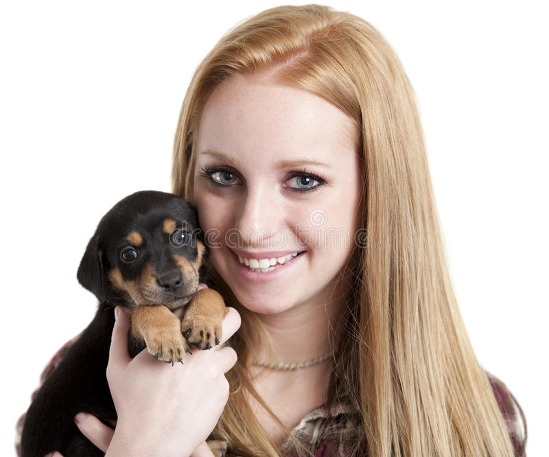 Teenager With Puppy Royalty Free Stock Image