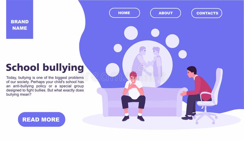 Teenager at the reception of a psychologist about school bullying. teenage concept. Family psychology concept. Website. Landing page template. Vector royalty free illustration