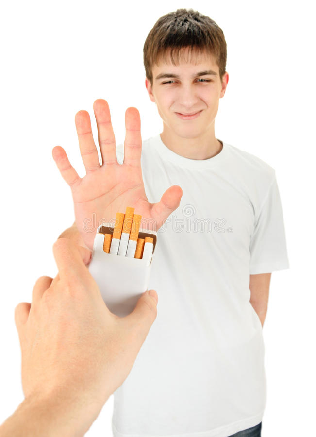 Teenager refuse a Cigarette stock photos