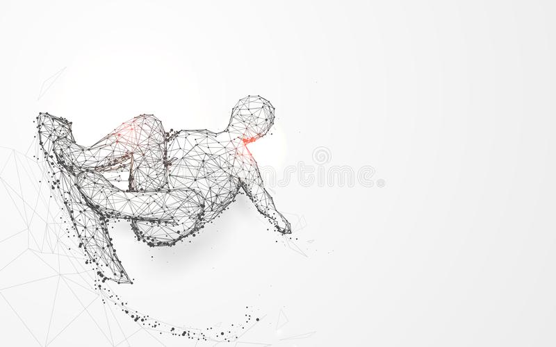 A teenager skateboarder from lines and triangles, point connecting network on blue background vector illustration
