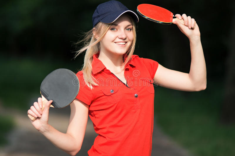 Teenager with a skipping rope in park royalty free stock images