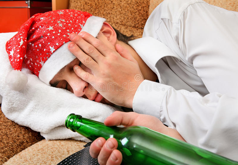 Teenager sleep with a Beer royalty free stock photos