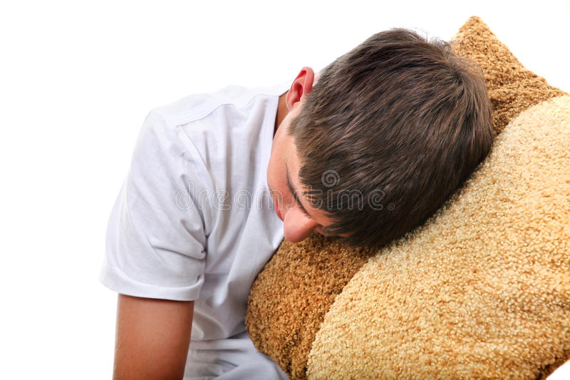 Download Teenager Sleeps With Cushion Stock Photo - Image: 35065678