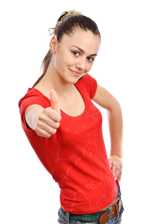 Download Teenager smile thumb up stock image. Image of adult, female - 19566683