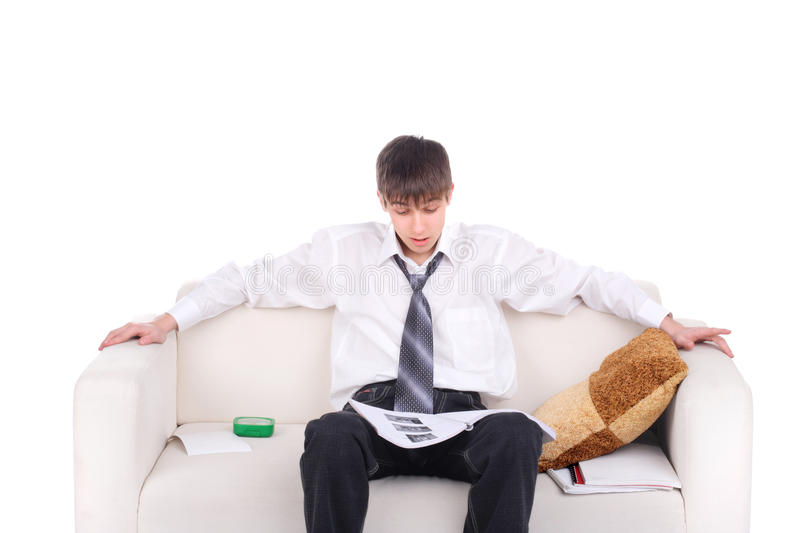 Download Teenager on the Sofa stock photo. Image of shirt, examination - 27687228