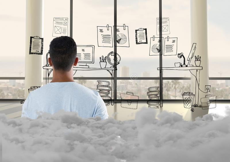 Teenager standing looking at doodle in office with clouds behind him stock photo
