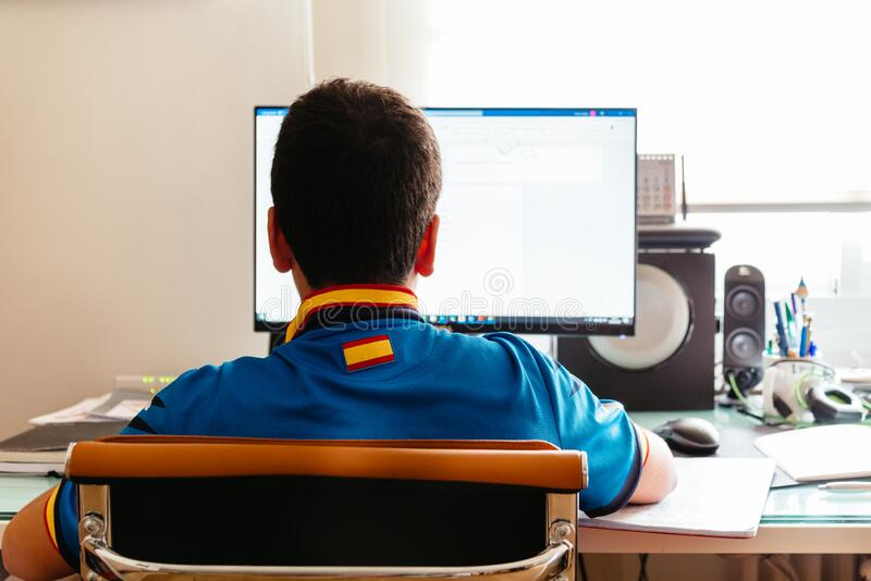 Teenager Is Studying At Home Attending Online Classes
