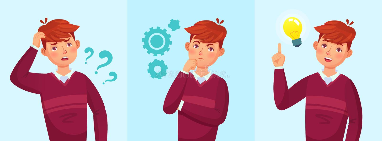 Teenager think. Thoughtful student, teen boy idea or university students guy solved question vector cartoon illustration. Teenager think. Thoughtful student vector illustration