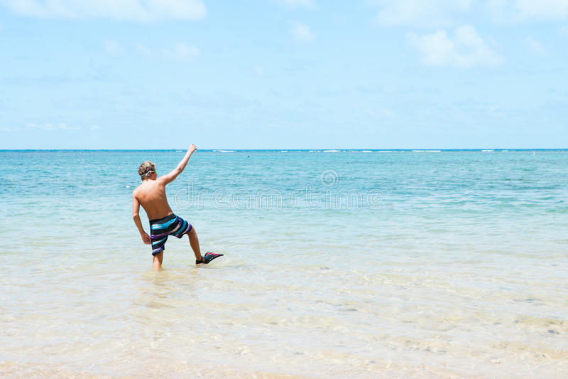 Teenager on Vacation in Hawaii stock photo