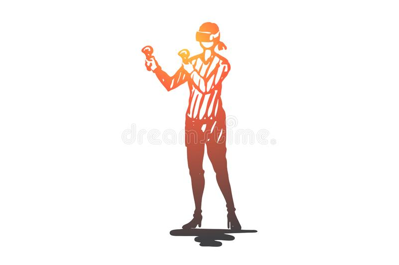 Teenager, virtual reality, game, glasses, entertainment concept. Hand drawn isolated vector. vector illustration