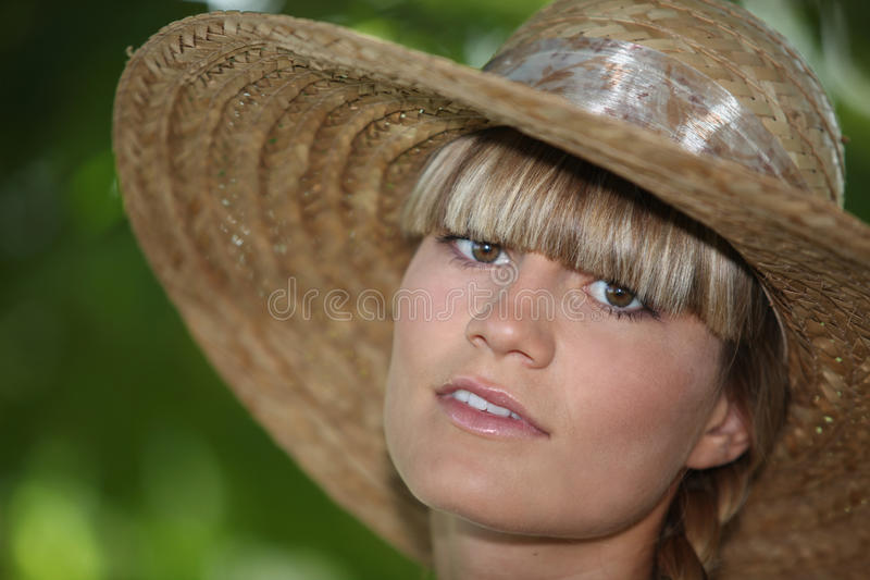 Download Teenager wearing straw hat stock photo. Image of female - 29296720