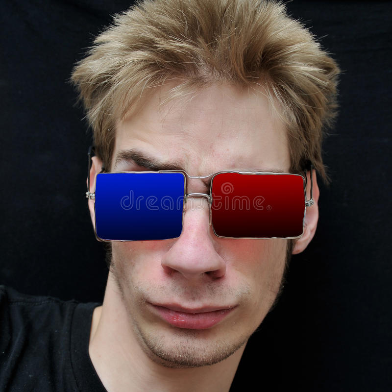 Download Teenager Wears Real 3D Glasses Stock Image - Image: 15162521