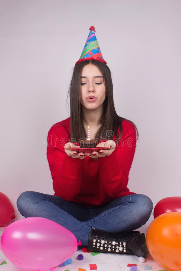 Birthday girl make a wish stock images