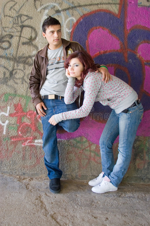 Teenagers. Couple in urban environment stock images