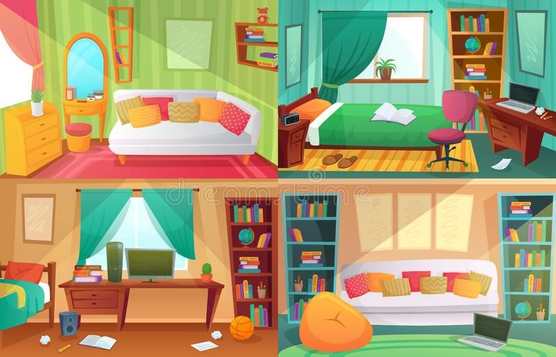 Teenagers bedroom. Student cluttered room, teenager college house apartment and home rooms furniture cartoon vector royalty free illustration