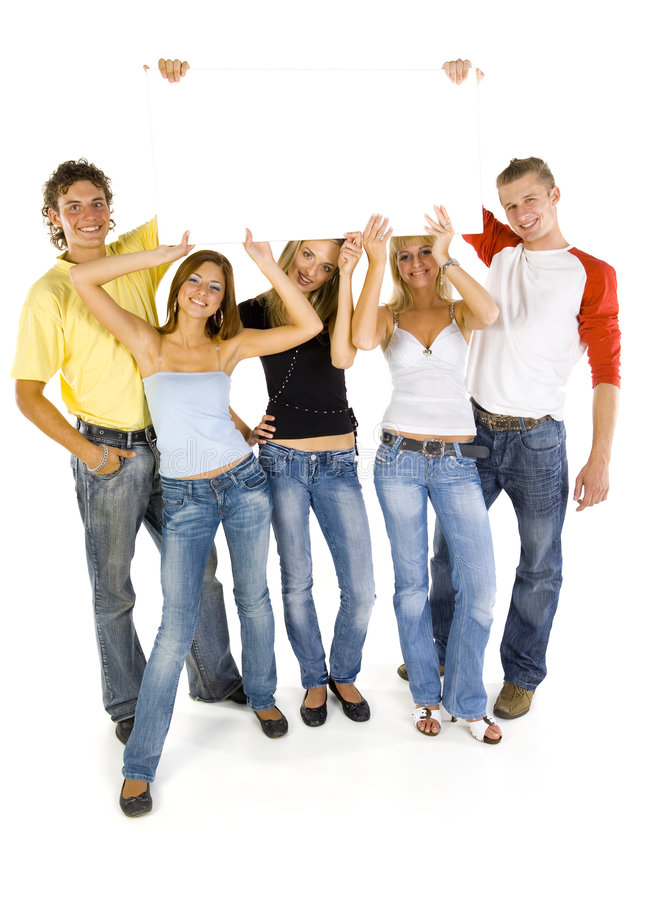 Download Teenagers with board stock photo. Image of blank, notice - 2865808