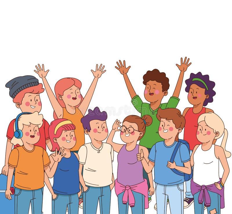 Teenagers boys and girls cartoons vector illustration