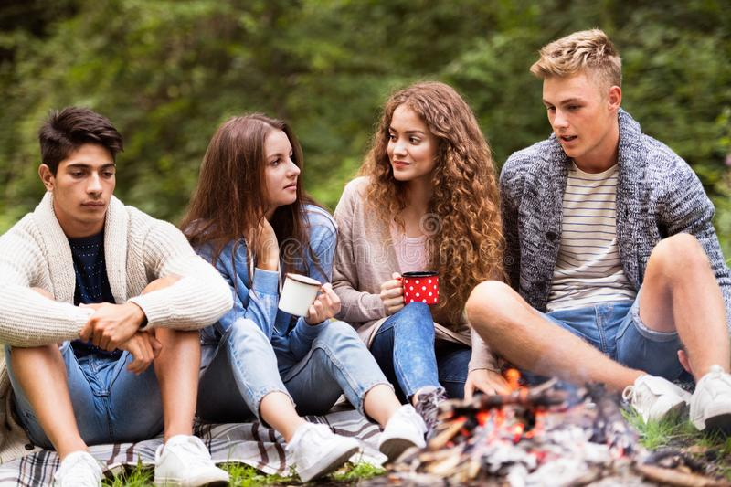 Teenagers camping in nature, sitting at bonfire. royalty free stock photo
