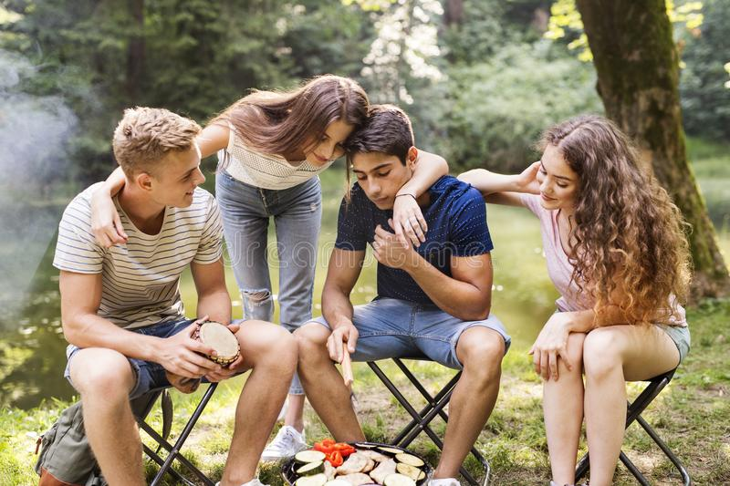 Teenagers camping in nature, sitting at bonfire. stock photo