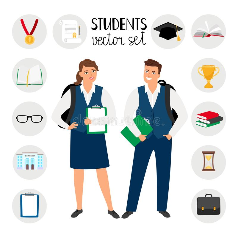 Teenagers college students. Young student people vector illustration, teenage boy and girl with school clothes and royalty free illustration