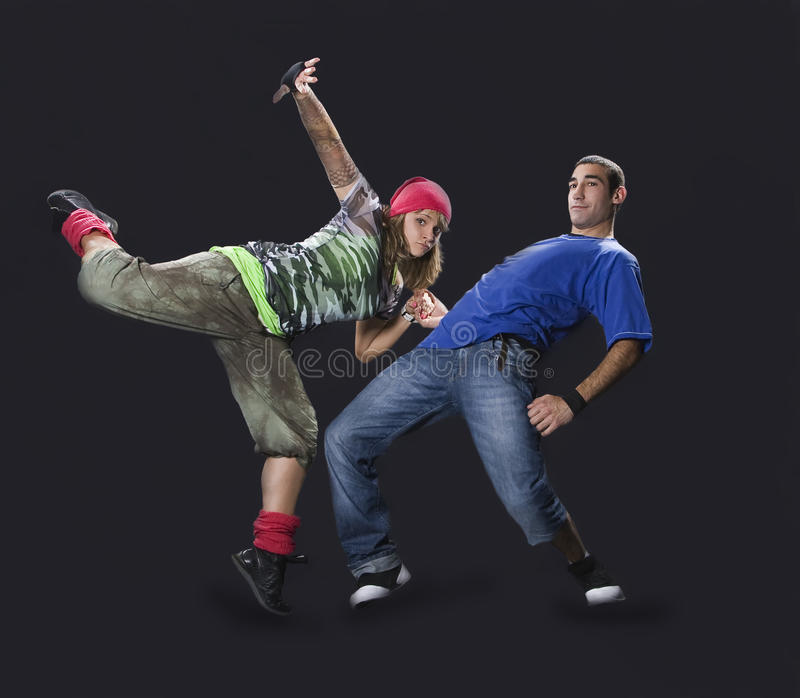 Teenagers dancing breakdance royalty free stock image