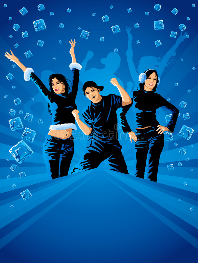 Teenagers dancing on the winter party stock photos