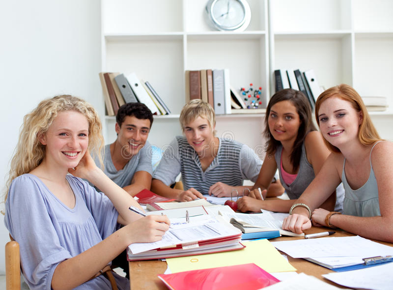 Download Teenagers Doing Homework In The Library Stock Image - Image: 12048097