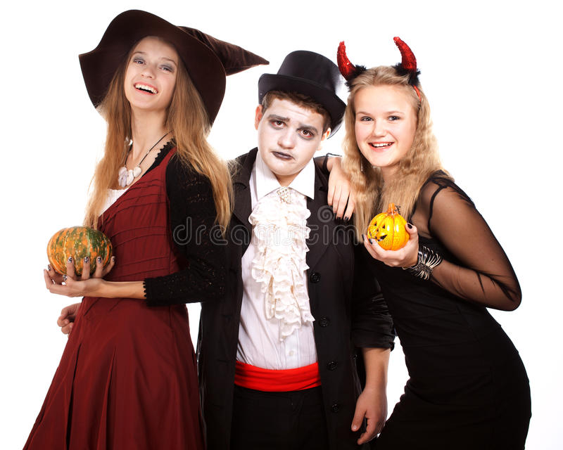 Teenagers dressed in costumes for Halloween royalty free stock photos