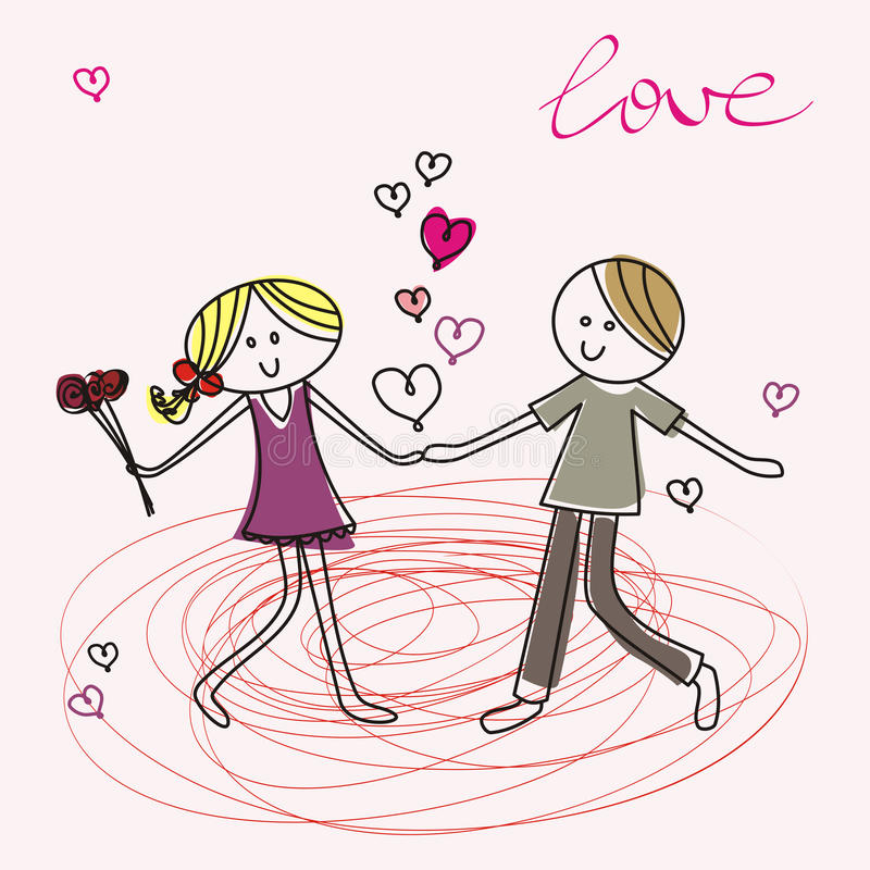 Teenagers fall in love royalty free illustration