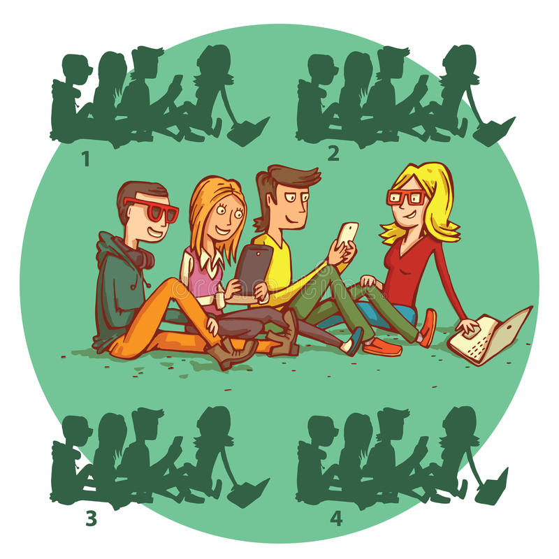 Teenagers Gadgets Shadow Visual Game. Solution No.2. royalty free illustration