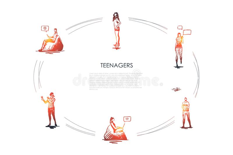 Teenagers - girls and boys playing with modern devices, communicating and riding segway vector concept set vector illustration