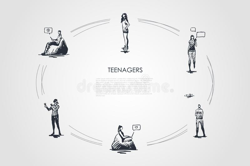 Teenagers - girls and boys playing with modern devices, communicating and riding segway vector concept set. Hand drawn sketch isolated illustration stock illustration