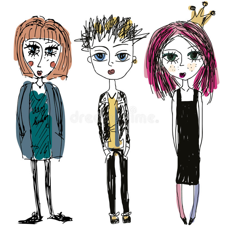 Teenagers group. Fashion young skinny girls and boy, sketch style. Doodle illustration of punks vector illustration
