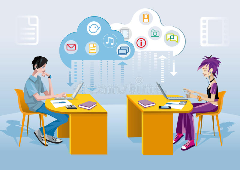 Teenagers And Internet. A teenage boy and a teenage girl, each one at his desk and working with a laptop. Over them a cloud and icons of different applications vector illustration