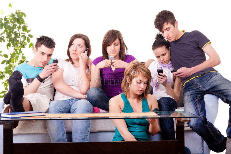 Download Teenagers - mobile mania stock image. Image of focused - 15571809