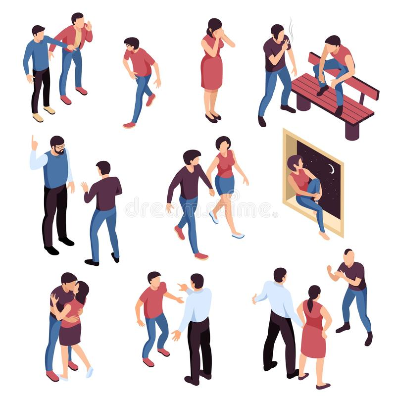 Teenagers Problems Isometric Set. With bullying and loneliness romantic relations smoking and parents misunderstanding isolated vector illustration royalty free illustration