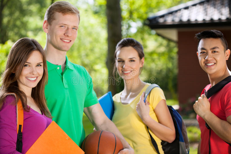 Teenagers after school. Horizontal view of a teenagers after school stock photography