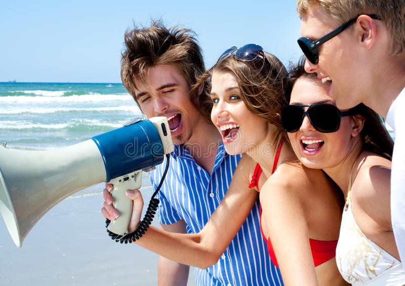 Download Teenagers Shouting Through Megaphone Stock Photo - Image: 15886064