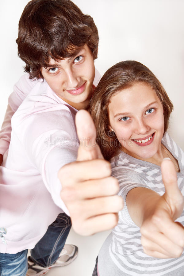 Download Teenagers showing Ok stock image. Image of cheerful, caucasian - 21651817
