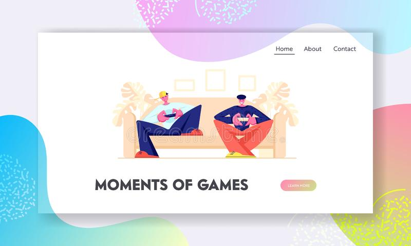 Teenagers Sitting on Sofa Playing Computer Games in Playstation Gaming Console. Leisure, Addiction, Spare Time, Virtual Reality vector illustration