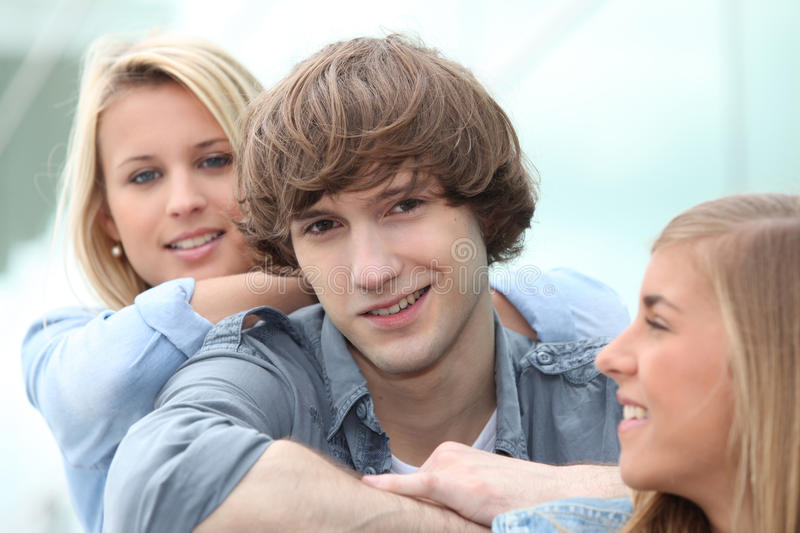 Download Teenagers sitting together stock image. Image of close - 27911453