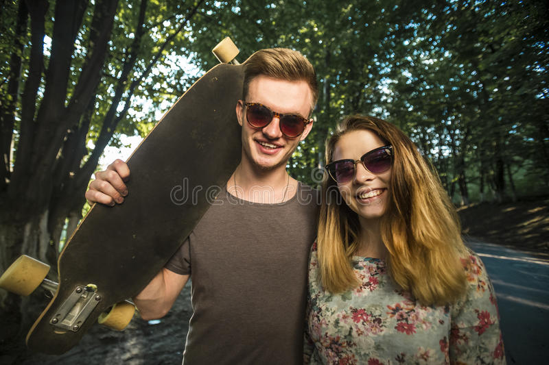 Teenagers with Skateboards royalty free stock photos