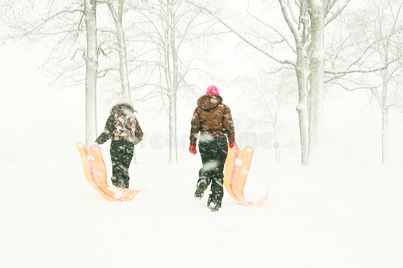 Teenagers With Sleds In Forest Stock Photo