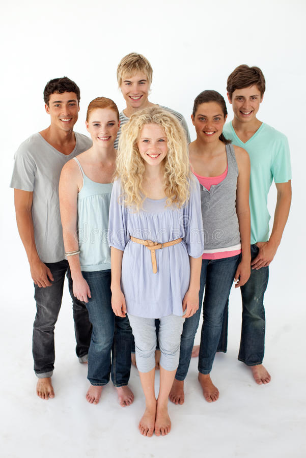 Download Teenagers Standing In Front Of The Camera Stock Image - Image: 11933113