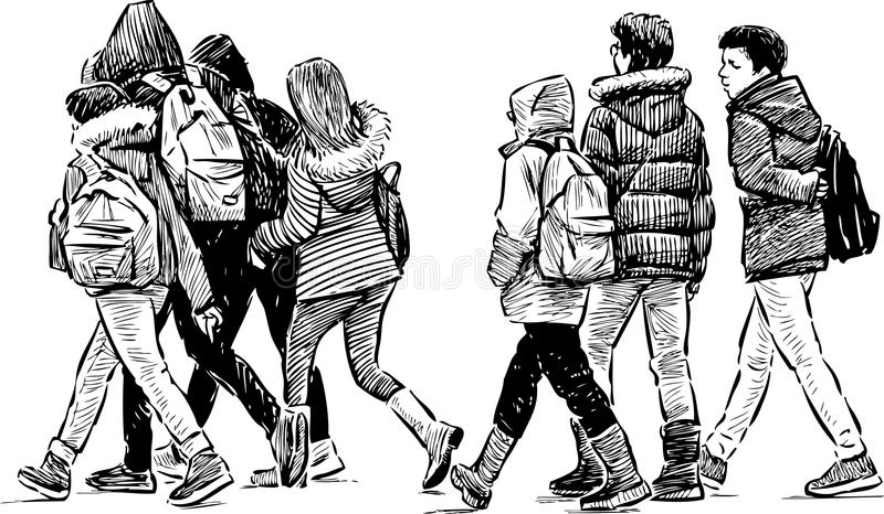 Teenagers on a stroll stock illustration