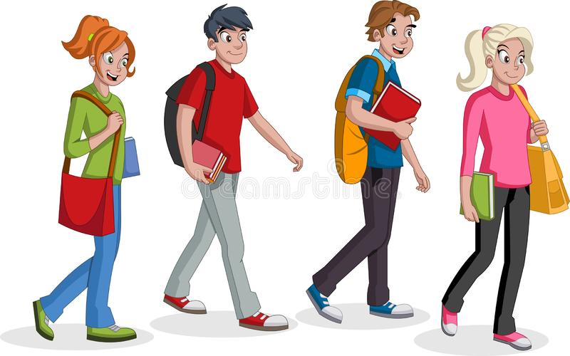 Teenagers students walking. Cartoon young people. stock illustration