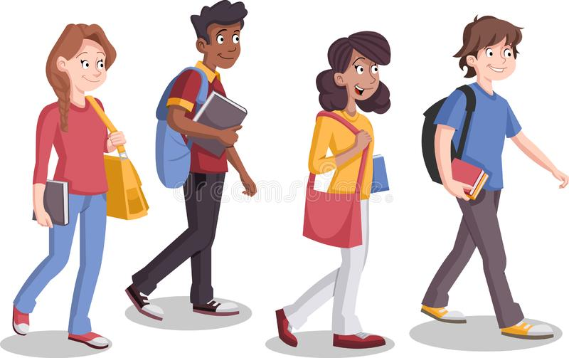 Teenagers students walking. Cartoon young people royalty free illustration