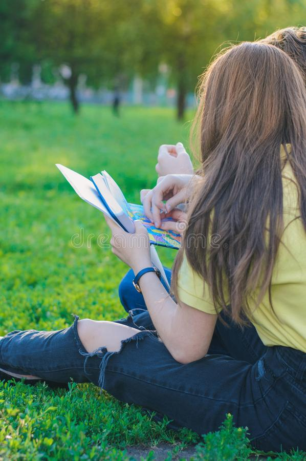 Teenagers studying together and lerning notes on the green lawn near college royalty free stock photos